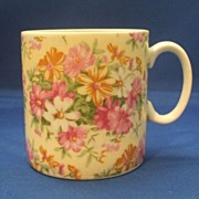Yellow Pink Flowers Chintz Porcelain Mug
