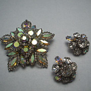 Huge Aurora Borealis Rhinestone Brooch & Earrings