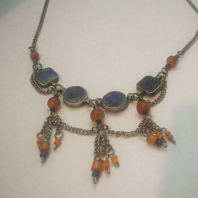 Lapis, Carnelian Tribal Style Festoon Necklace.