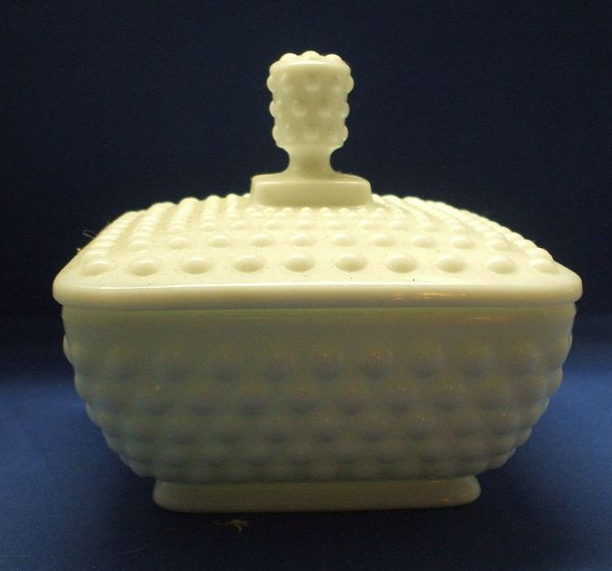 Imperial Glass Milk Glass Hobnail Square Candy Dish