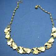 Cream Moonglow Discs Lucite Necklace Pink Enamel Leaves Choker