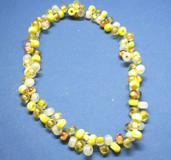 West Germany Glass Bead Woven Necklace Yellow