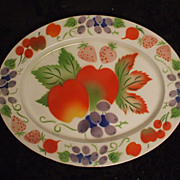 Enamel Bright Fruit Oval Platter Tray Apples Strawberries Grapes