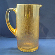 Imperial Glass Tree Bark Marigold Iridescent Carnival Pitcher