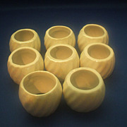 Pearlescent Ceramic Napkin Rings Set of 8 Swirled