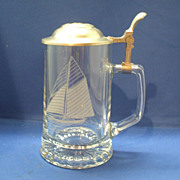Old Spice Glass Stein Pewter Lid Columbia 1901 Sailboat