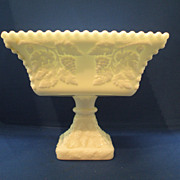 Westmoreland Beaded Grape Milk Glass Large Square Compote