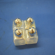 Japan Clear Glass Mini Salt & Pepper Shakers Square Two Pairs