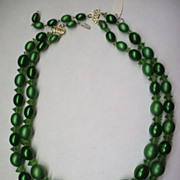 Green Oval Faux Pearls Double Strand Necklace Hong Kong