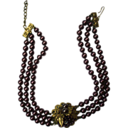 Purple Burgundy Faux Pearls Triple Strand Choker Center Piece