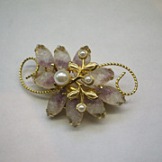 Pink & White Molded Glass Flower Petals Faux Pearls Gold Tone Pin