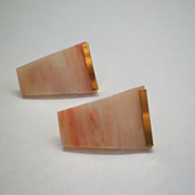 Pink Glass Trapezoid Wedge Earrings Post Back