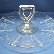 Cut Floral Center Handle Tidbit Tray Clear Glass