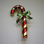 Candy Cane Christmas Gerry's Red Enamel Gold Tone Pin