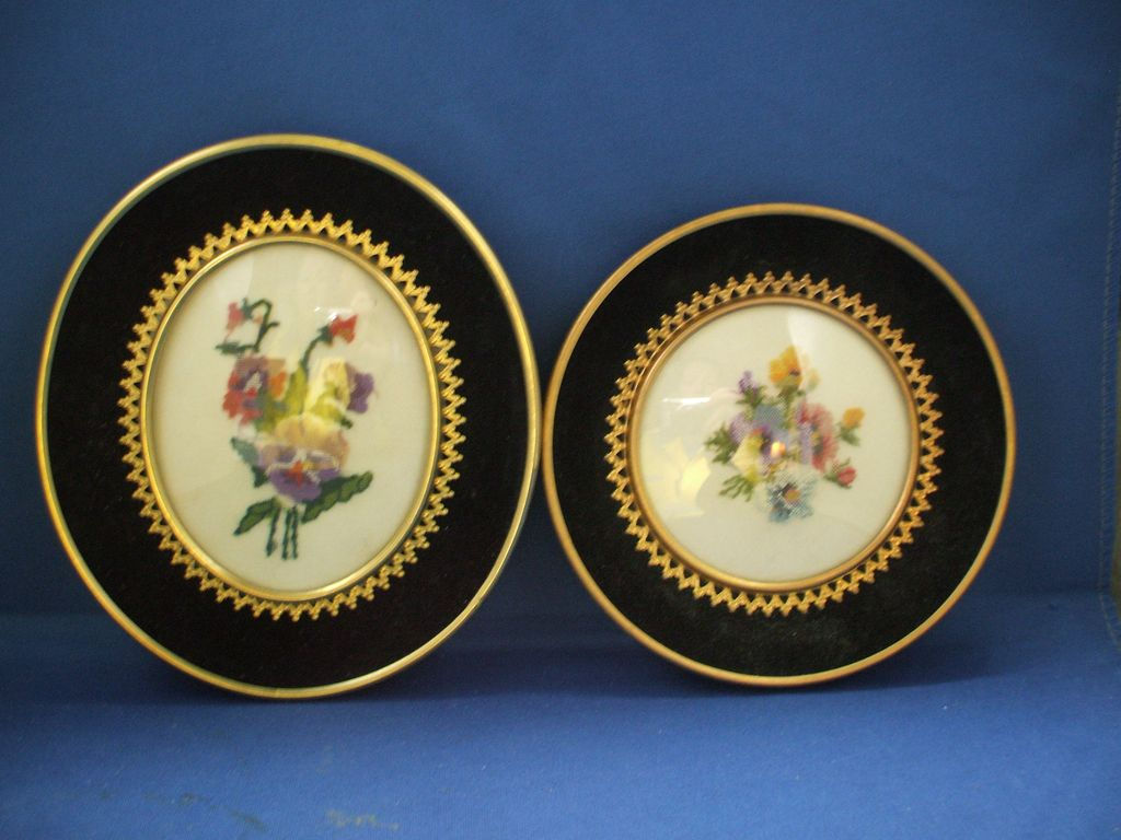Needlepoint Floral Framed Plaques Oval & Circle Pansies