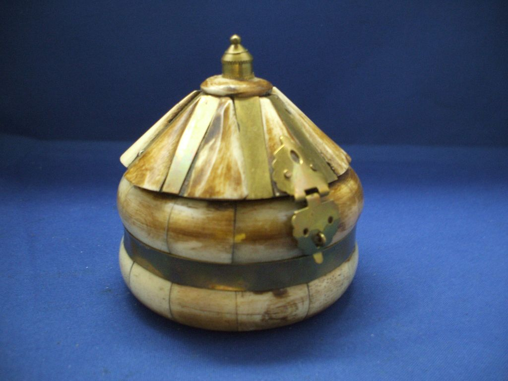 Horn & Brass Hinged Trinket Box Domed Lid