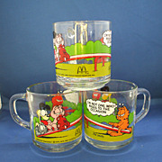 "Garfield & Odie Anchor Hocking Mugs Clear Glass ""I'm Not One Who Rises To The Occasion"""