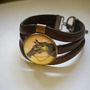Essex Crystal Horse Head Equestrian Leather Bracelet