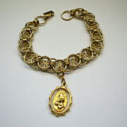 Praying Hands Gold Tone Charm Bracelet Layered Links