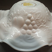 Milk Glass Fruit Embossed Ruffled Bowl