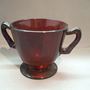 Royal Ruby Footed Sugar Bowl Anchor Hocking