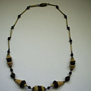 Czechoslovakian Glass Necklace Cream & Garnet Red Beads