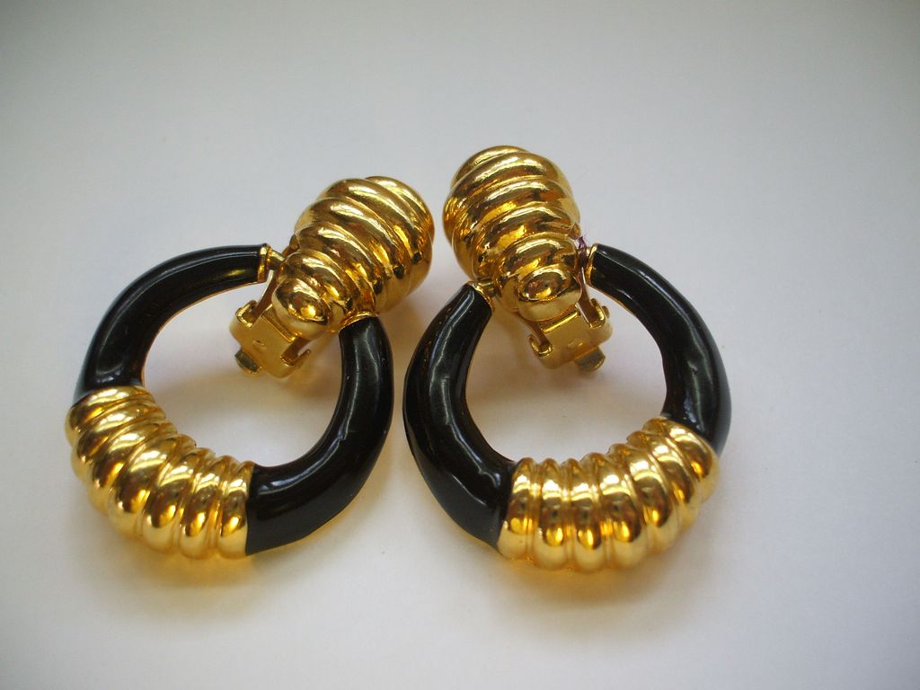 Black Enamel & Gold Tone Doorknocker Earrings Clips