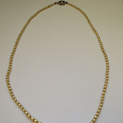 Champagne Faux Pearl Necklace Sterling Clasp 23""