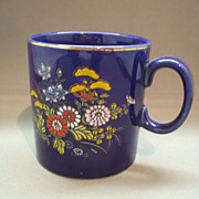 Cobalt Blue Mug Hand Painted Enamel Flowers