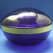 Cobalt Blue Glass Powder Jar Box CCCC Logo