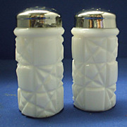 Milk Glass Salt & Pepper Shakers Block & Facets