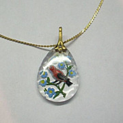 Bird Necklace Reverse Painted Intaglio Glass Pendant