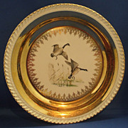 Georgian China Canadian Geese Gold Decorated Dinner Plate