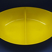 Bright Yellow Oneida Melmac Oval Divided Bowl