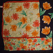 Oscar De La Renta Silk Scarf Tropical Flowers Navy Blue, Red, Yellow, Orange