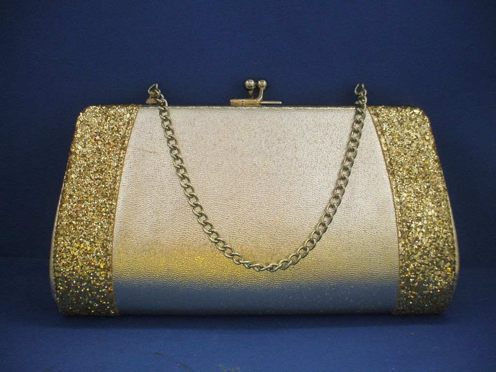 Gold Lame Glitter Encrusted Evening Bag