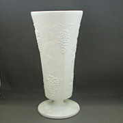 "Indiana Milk Glass Harvest Grape 10"" Footed Vase"