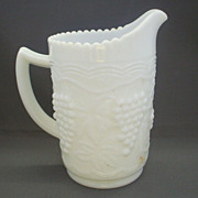 Imperial Glass Vintage Grape Milk Glass Pint Pitcher