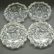 Early American Prescut Ashtrays Set of 4 Small