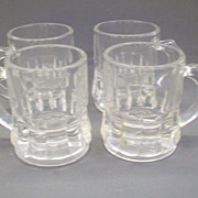 Federal Glass Mini Stein Mugs Clear Glass Shots