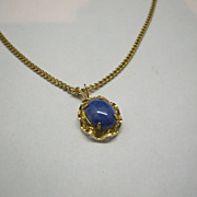 Accents by Hallmark Blue Oval Pendant Necklace Gold Tone Chain