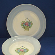 American Limoges Dustitone Blue Sampler Candlelight 4 Pieces