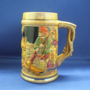 Japan Lustre Stein Figural Rabbit Dog Hunter Hand Painted