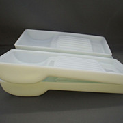W.D. Allison Milk Glass Dental Medical Instrument Trays Set of 4