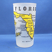 Florida Souvenir Frosted Glass Tumbler Hazel Atlas