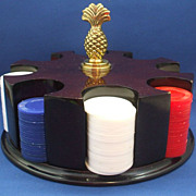Poker Caddy & Chips Mahogany Finish Pineapple Finial