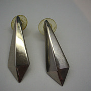 Elongated Dimensional Pyramid Drop Silver Tone Earrings Posts