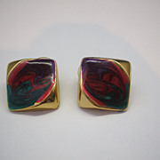 Gold Toned Sparkly Swirled Enamel Modernist Square Earrings