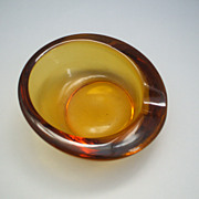 Viking Art Glass Amber Slanted Ashtray