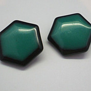 Emerald Green & Black Lucite Hexagon Clip Earrings